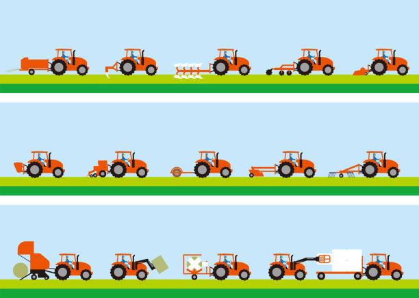 bildbanksillustrationer, clip art samt tecknat material och ikoner med jordbruks traktor och gräs odling - traktor pulling