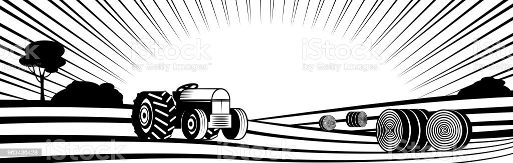 Agricultural tractor and round hay bales in rural landscape with hills and fields. vector art illustration