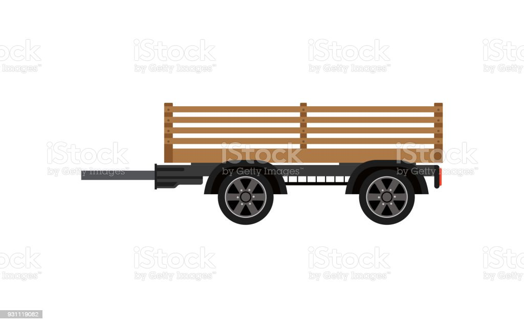 Agricultural wooden trailer isolated icon vector art illustration