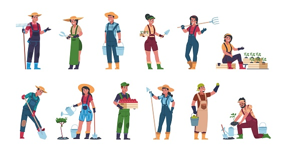 Agricultural workers. Cartoon farmers and harvesting characters, hand drawn rural people with farming equipment. Vector eco concept