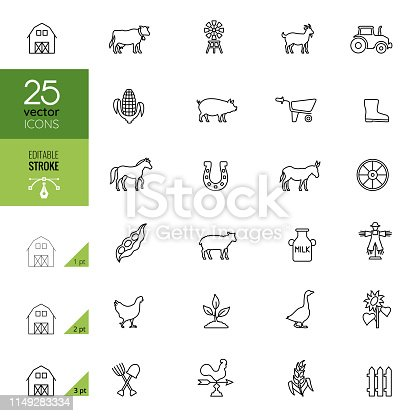 Agriculture and Farm Icon Set. Editable Stroke.