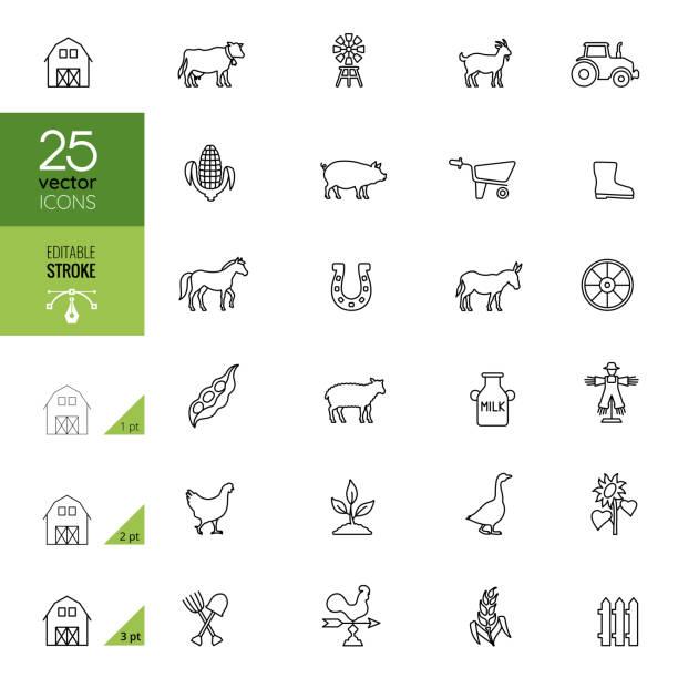 stockillustraties, clipart, cartoons en iconen met landbouw en boerderij icon set. bewerkbare lijn. - pig farm