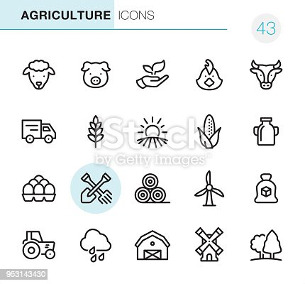 20 Outline Style - Black line - Pixel Perfect icons / Set #43 Icons are designed in 48x48pх square, outline stroke 2px.  First row of outline icons contains: Sheep, Pig, Leaf in human hand, Chicken- Bird, Cow;  Second row contains: Truck, Wheat, Sunrise and Field, Corn - Crop, Milk Bottle;  Third row contains: Eggs in container, Crossed Shovel and Rake, Haystack, Wind Turbine, Sugar Bag;   Fourth row contains: Tractor, Rain, Barn, Windmill, Tree.  Complete Primico collection - https://www.istockphoto.com/collaboration/boards/NQPVdXl6m0W6Zy5mWYkSyw