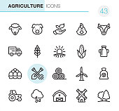 20 Outline Style - Black line - Pixel Perfect icons / Set #43\nIcons are designed in 48x48pх square, outline stroke 2px.\n\nFirst row of outline icons contains:\nSheep, Pig, Leaf in human hand, Chicken- Bird, Cow;\n\nSecond row contains:\nTruck, Wheat, Sunrise and Field, Corn - Crop, Milk Bottle;\n\nThird row contains:\nEggs in container, Crossed Shovel and Rake, Haystack, Wind Turbine, Sugar Bag; \n\nFourth row contains:\nTractor, Rain, Barn, Windmill, Tree.\n\nComplete Primico collection - https://www.istockphoto.com/collaboration/boards/NQPVdXl6m0W6Zy5mWYkSyw