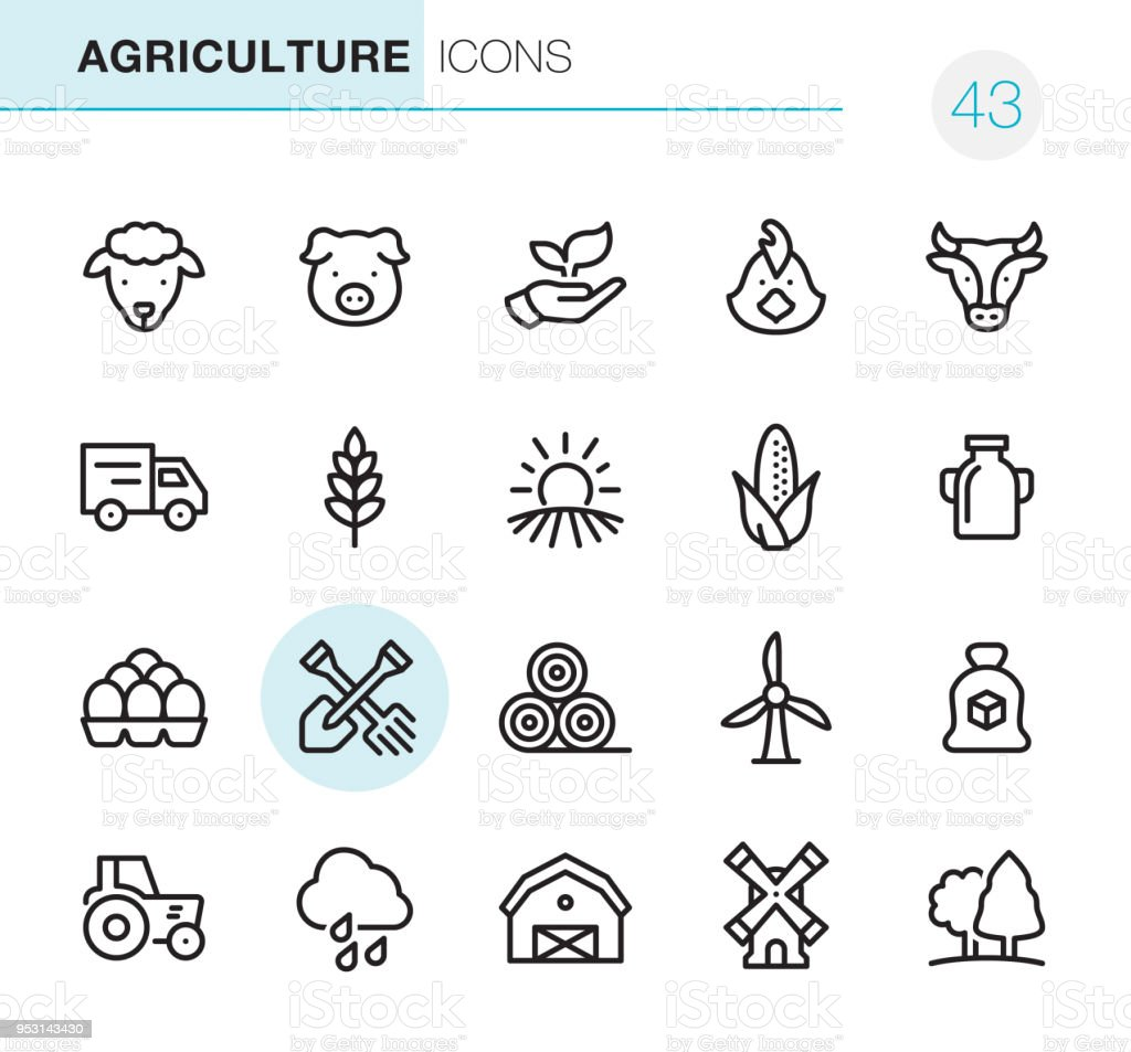 Agriculture and Farm - Pixel Perfect icons vector art illustration