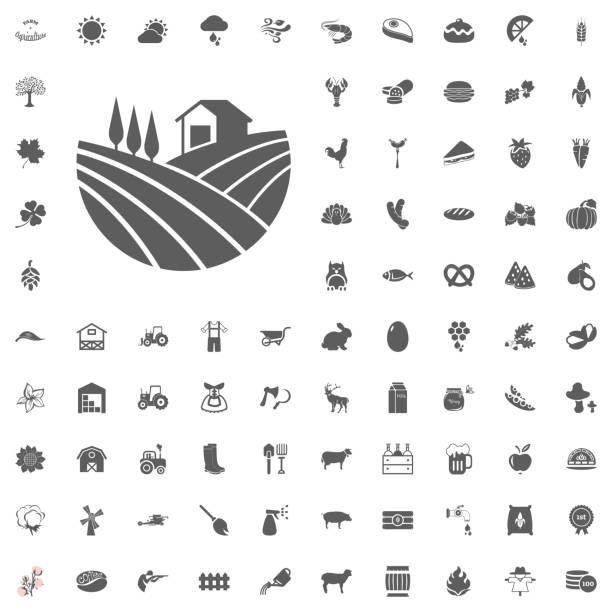 Agricultura y granja Set de iconos de Vector - ilustración de arte vectorial