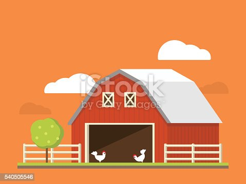 Agriculture and farming. Agribusiness. Rural landscape flat illustration