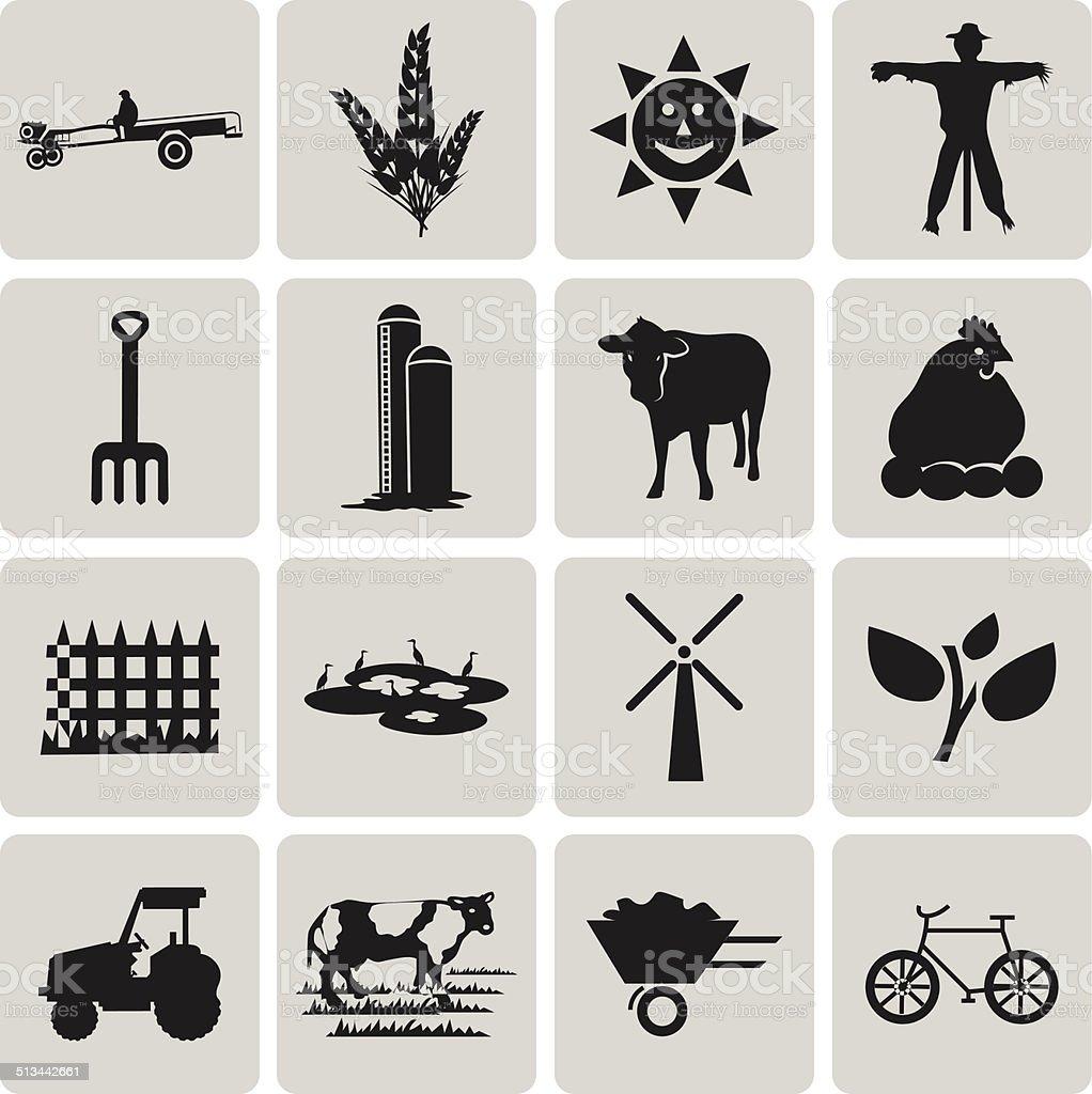 Schwarz Landwirtschaft und Landwirtschaft Symbole set1.  Vektor-Illustration des ep – Vektorgrafik