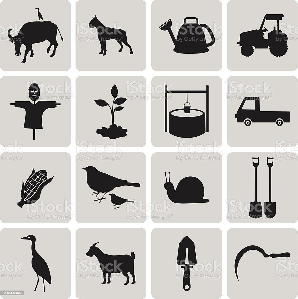 Schwarz Landwirtschaft und Landwirtschaft Symbole set2.  Vektor-Illustration des ep – Vektorgrafik