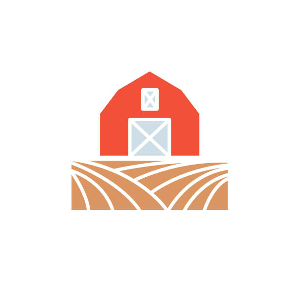 agriculture and farming flat design icons: barn - clip art of a black and white barn stock illustrations, clip art, cartoons, & icons