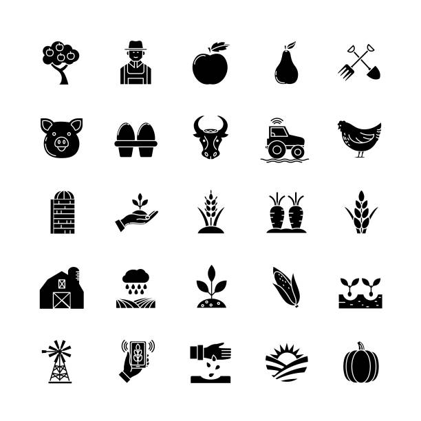 agriculture and farming flat design icons: set - clip art of a black and white barn stock illustrations, clip art, cartoons, & icons