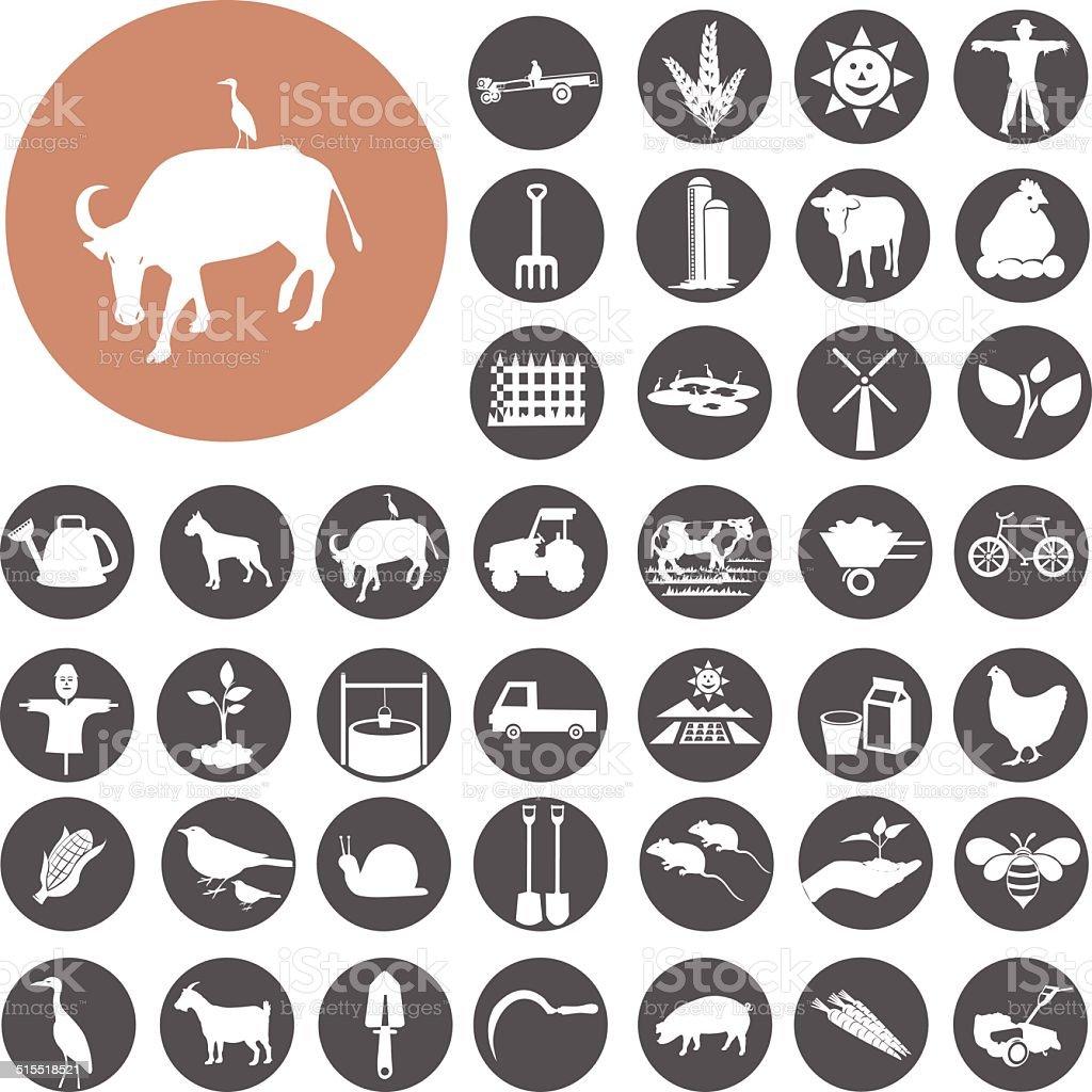 Landwirtschaft und Landwirtschaft icons set.  Illustration eps10 – Vektorgrafik