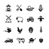 Agriculture and farming icons, Set of 16 editable filled, Simple clearly defined shapes in one color.