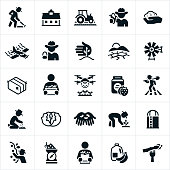 Icons related to the agriculture industry. The icons include famers farming, barn, farm equipment, crops, crop duster, drought, windmill, hay bail, vegetables, drone, jam, planting, cultivating, lettuce, silo, harvesting, apples, grapes, fruit, produce and a shopper to name a few.