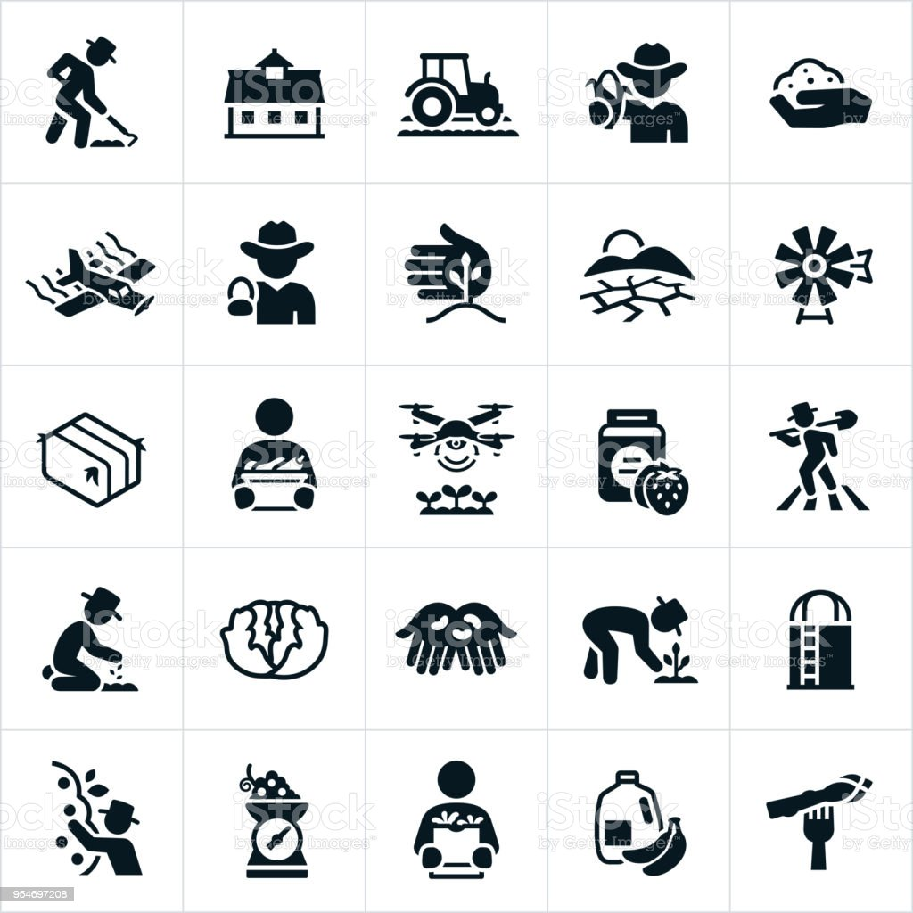 Agriculture and Farming Icons vector art illustration