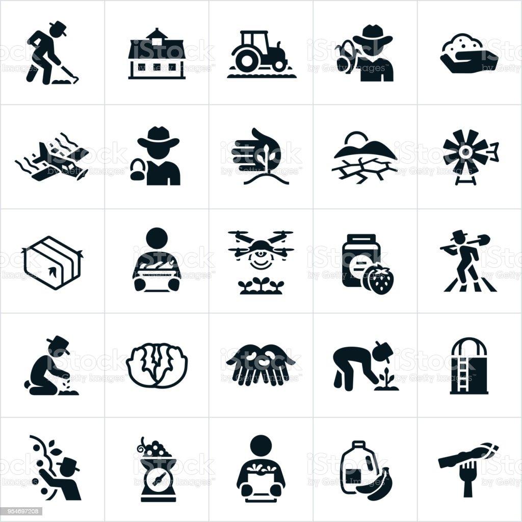 La agricultura y la ganadería de iconos - ilustración de arte vectorial