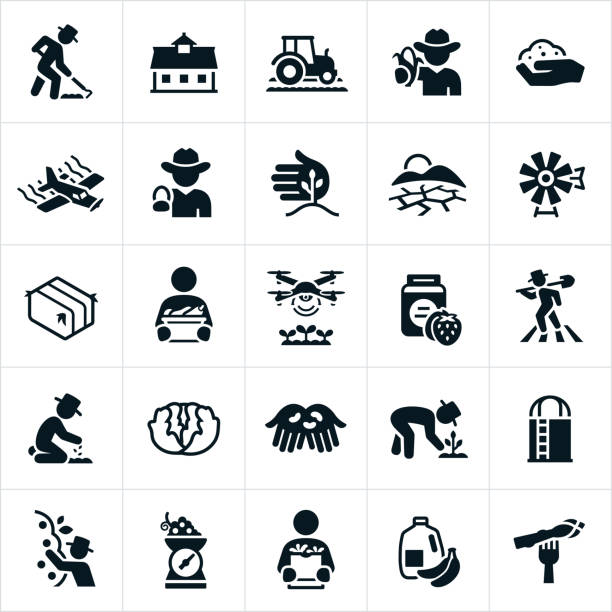Agriculture and Farming Icons Icons related to the agriculture industry. The icons include famers farming, barn, farm equipment, crops, crop duster, drought, windmill, hay bail, vegetables, drone, jam, planting, cultivating, lettuce, silo, harvesting, apples, grapes, fruit, produce and a shopper to name a few. farmer stock illustrations