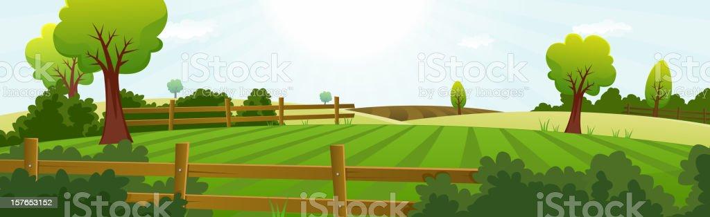 Agriculture And Farming Landscape Banner vector art illustration