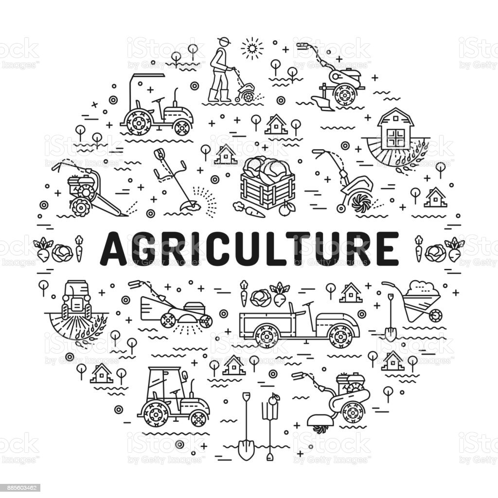 Agriculture And Farming Line Art Icons Farm Infographics Design ...