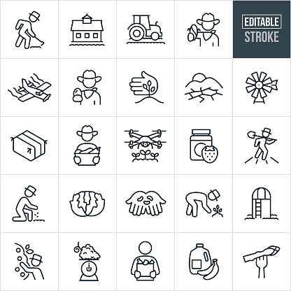 Agriculture and Farming Thin Line Icons - Editable Stroke
