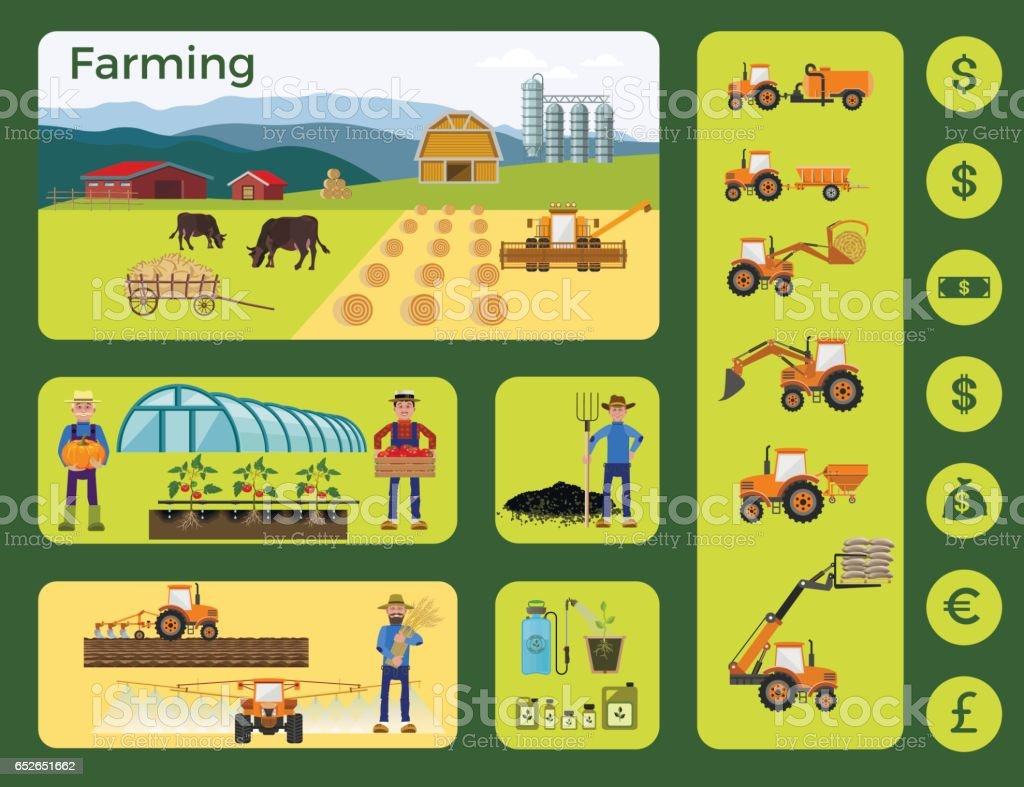Agriculture and farming vector art illustration