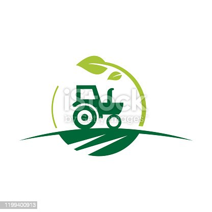 Agriculture and farming with a tractor with cultivator and plow, logo design. Agribusiness, Eco-farm and rural country, vector design. Farm industries