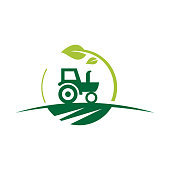 istock Agriculture and farming with a tractor with cultivator and plow, logo design. 1199400913