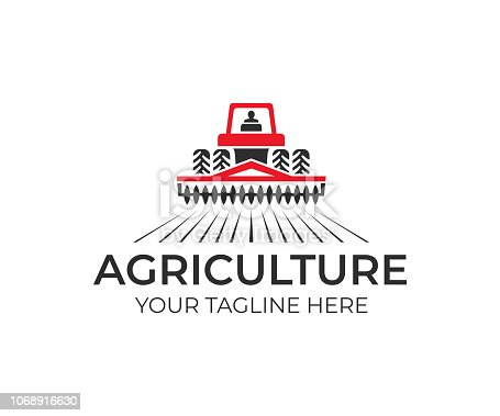 Agriculture and farming with tractor with cultivator and plow, icon design. Agribusiness, eco farm and rural country, vector design. Farm industries and agronomy, illustration