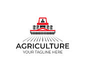 Agriculture and farming with tractor with cultivator and plow, design. Agribusiness, eco farm and rural country, vector design. Farm industries and agronomy, illustration