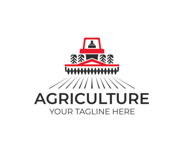 illustrazioni stock, clip art, cartoni animati e icone di tendenza di agriculture and farming with tractor with cultivator and plow, design. agribusiness, eco farm and rural country, vector design. farm industries and agronomy, illustration - trattore