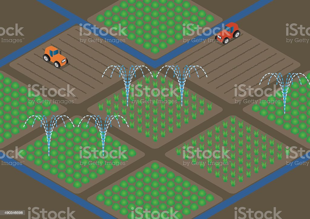Agriculture And Water Sprinkler Image Illustration Stock