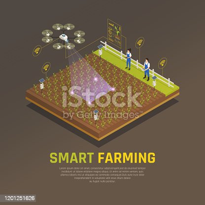 Agriculture automation smart farming composition with editable text and view of field cultivation with modern technologies vector illustration