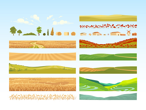Agriculture cartoon vector objects set