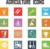 agriculture color icons .
