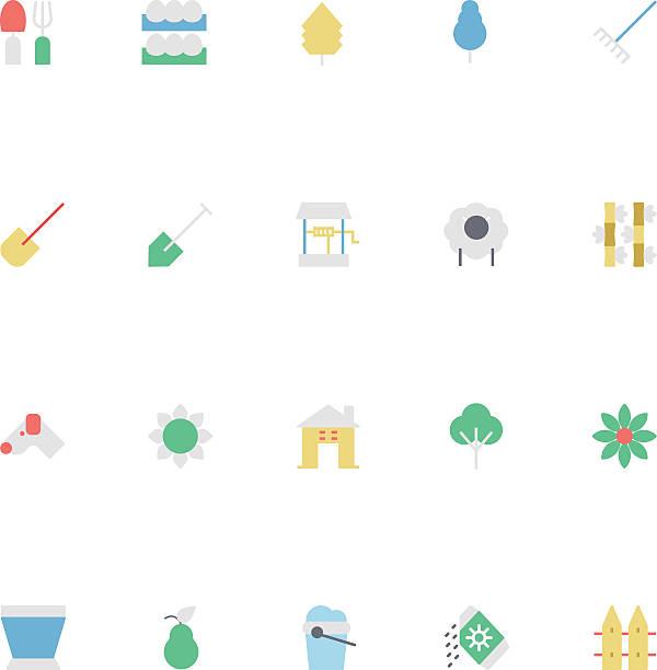 landwirtschaft bunten vektor-icons und 4 - lärchenzaun stock-grafiken, -clipart, -cartoons und -symbole