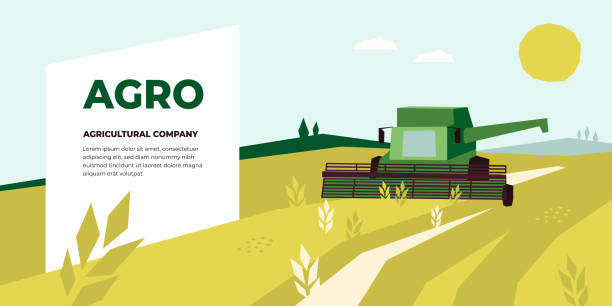 Agriculture design template with Combine Harvester – artystyczna grafika wektorowa