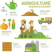 Agriculture farm flat design infographic