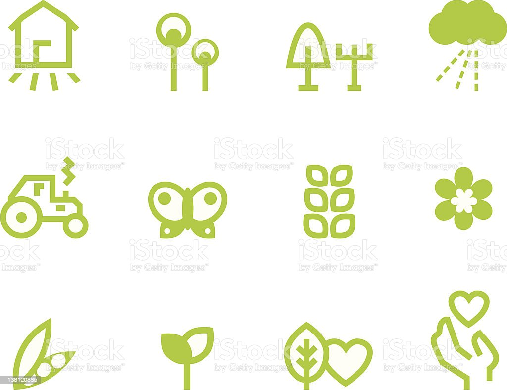 Agriculture & farming icons set isolated on white ( green ) royalty-free stock vector art