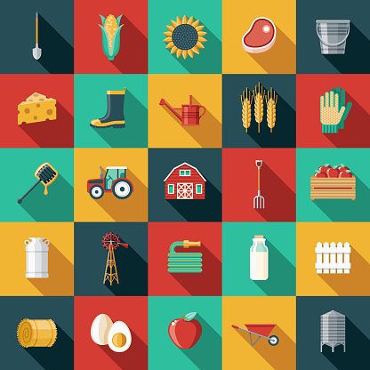 Agriculture Flat Design Icon Set