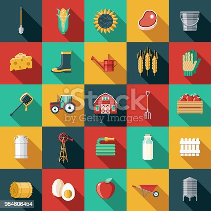 A set of flat design styled agriculture icons with a long side shadow. Color swatches are global so it's easy to edit and change the colors. File is built in the CMYK color space for optimal printing.