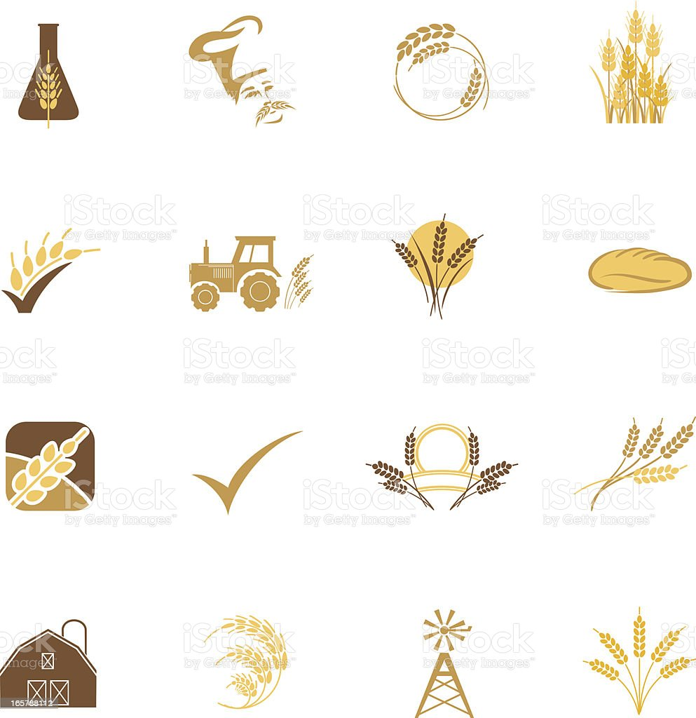 Agriculture Grain and Wheat Icon Set of Sixteen in Pastels vector art illustration