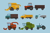 Agriculture industrial farm equipment machinery tractor combine and excavator rural machinery corn car harvesting wheel vector illustration