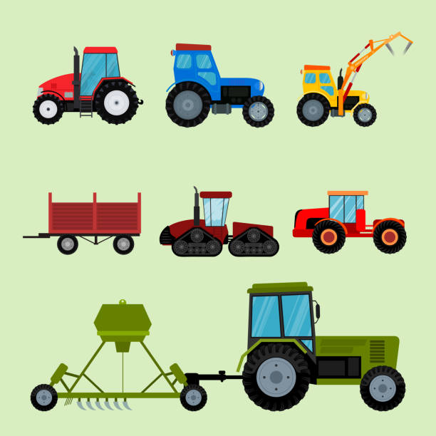 illustrazioni stock, clip art, cartoni animati e icone di tendenza di agriculture industrial farm equipment machinery tractors combines and excavators vector illustration - trattore