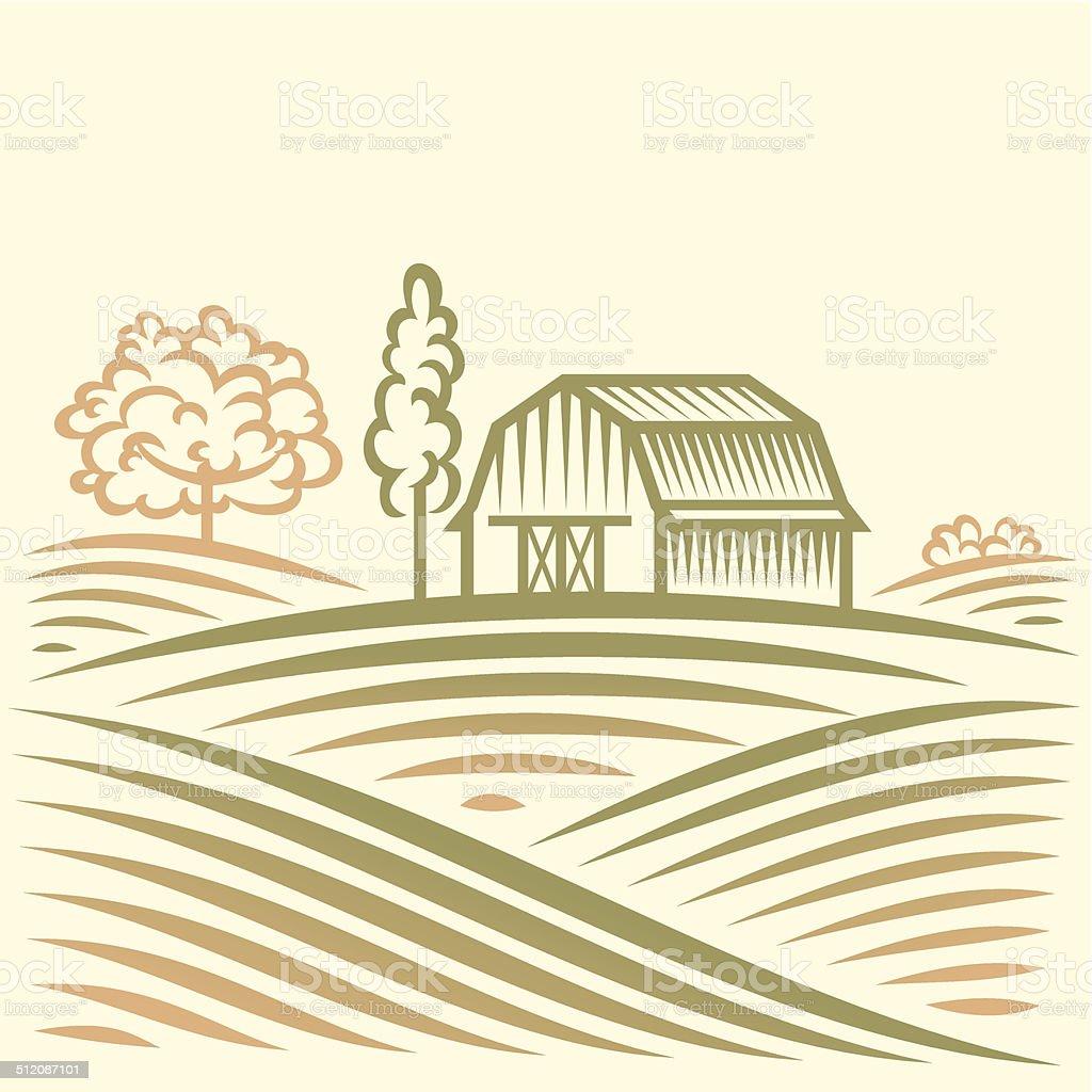 Landwirtschaft-Landschaft mit Scheune und Bäumen.  American Farm – Vektorgrafik