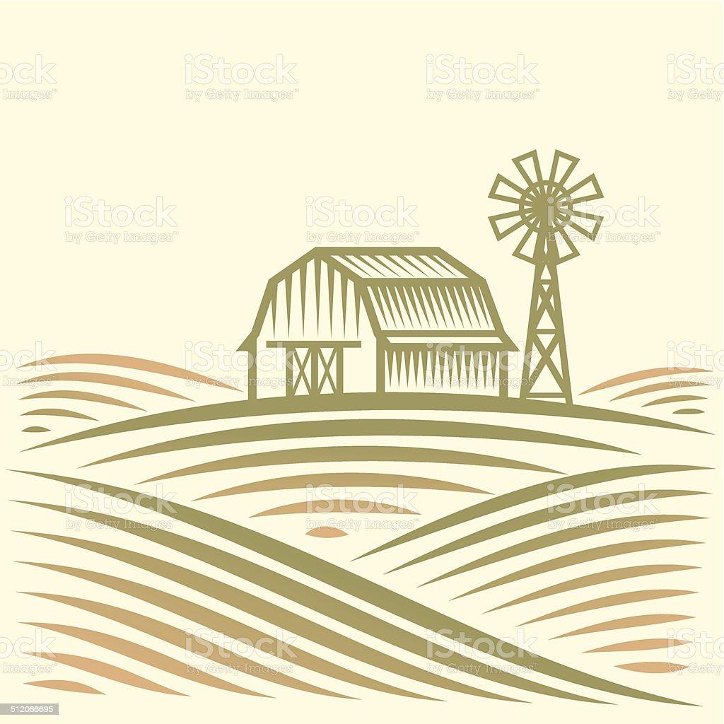 Landwirtschaft-Landschaft mit Scheune und Wind Turbine