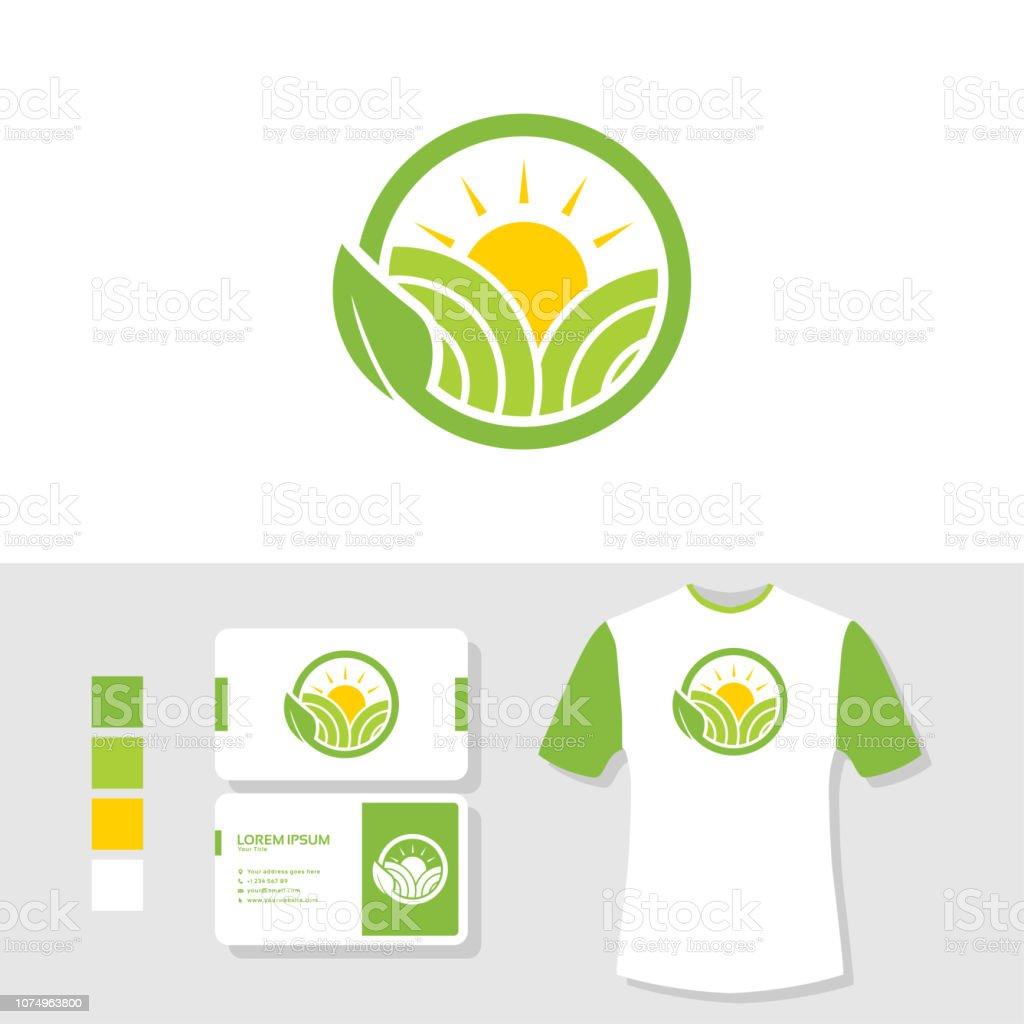 Landwirtschaftlogodesign Mit Visitenkarte Und T Shirt Mockup Stock Vektor Art Und Mehr Bilder Von Abstrakt