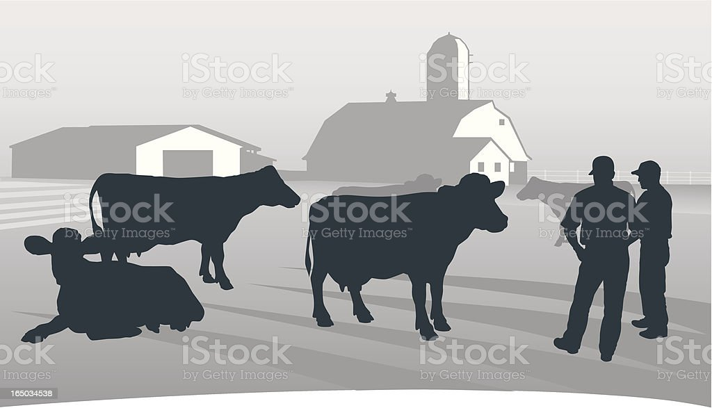 Agriculture: Looking over the herd. vector art illustration
