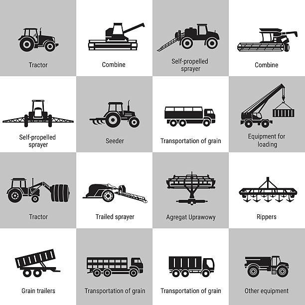 Agriculture Machinery Equipments vector black agricultural transport icons set on white. Agricultural Machinery collection - vector. Illustration of growing and harvesting crops. Equipment for agriculture. harvesting stock illustrations