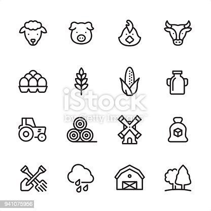 16 line black on white icons / Set #45 / Agriculture and Farm Pixel Perfect Principle - all the icons are designed in 48x48pх square, outline stroke 2px.  irst row of outline icons contains:  Sheep, Pig, Chicken, Cow;  Second row contains:  Eggs in stack, Wheat, Corn Crop, Milk;  Third row contains:  Tractor, Haystack, Windmill, Sugar Bag;   Fourth row contains:  Crossed Shovel and Rake, Rain, Barn, Forest.  Complete Inlinico collection - https://www.istockphoto.com/collaboration/boards/2MS6Qck-_UuiVTh288h3fQ