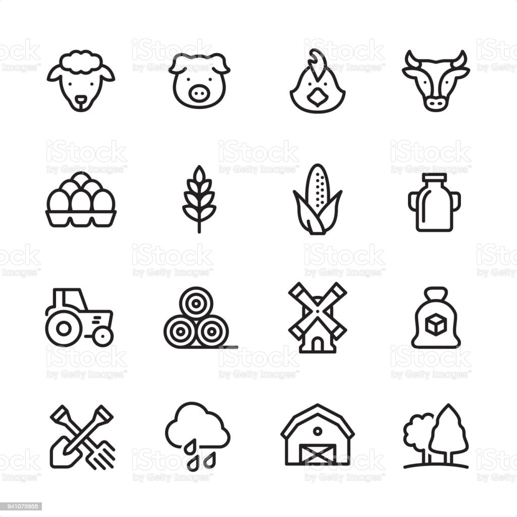 Agriculture - outline icon set vector art illustration
